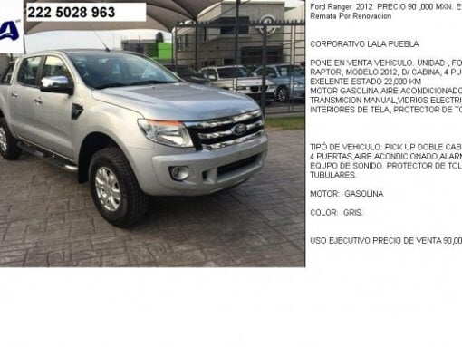 Foto Ford Ranger 2012 PRECIO 90,000 MXN. Empresa...