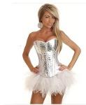 Foto Promoção - *- corselet importado *branco prata...